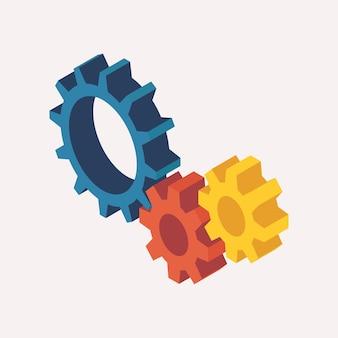 Vista isométrica de engrenagens mecânicas. ilustração vetorial 3d