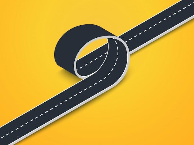 Vista isométrica de loop de estrada. estrada sinuosa 3d