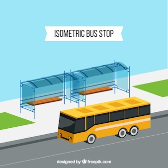 Vista isométrica de ônibus e ônibus