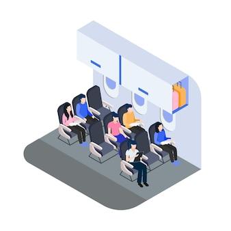 Vista isométrica de passageiros de embarque de avião
