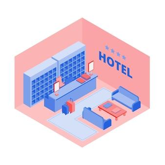 Vista isométrica de recepção de hotel