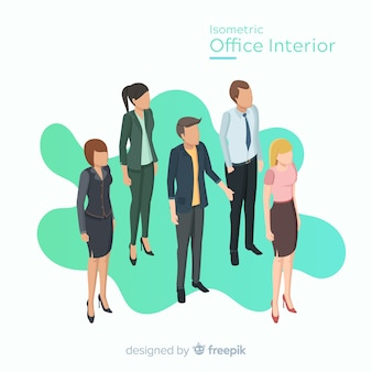 Vista isométrica de trabalhadores de escritório com design plano