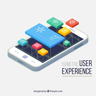 Vista isométrica de um telefone celular e os botões para aplicações