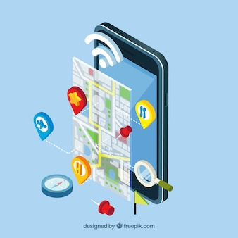 Vista isométrica de uma aplicação móvel com um mapa