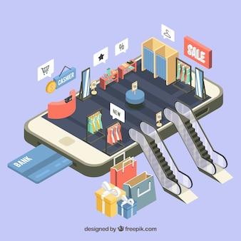 Vista isométrica de uma aplicação móvel para fazer compras