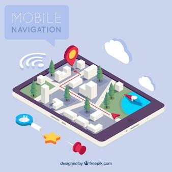 Vista isométrica de uma aplicação móvel para navegação