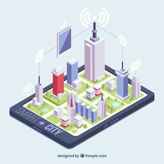 Vista isométrica de uma cidade sobre um telefone móvel
