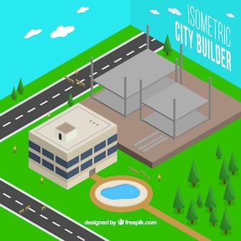 Vista isométrica de uma construção