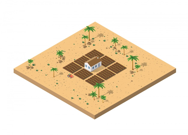 Vista isométrica de uma fazenda
