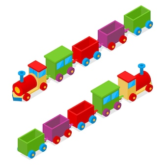 Vista isométrica do brinquedo do trem colorido do transporte. carga locomotiva.