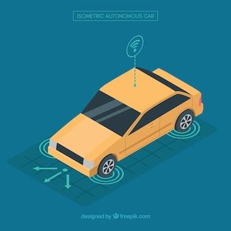 Vista isométrica do carro autônomo futurista