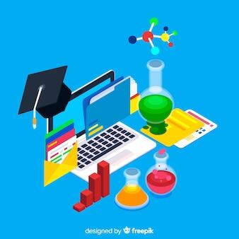 Vista isométrica do conceito de educação colorido
