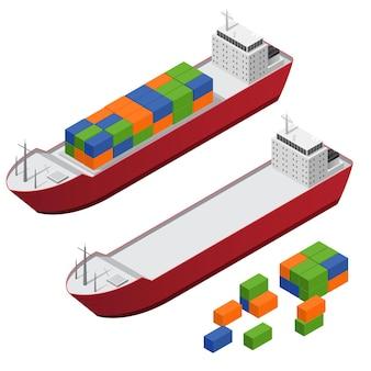 Vista isométrica do conjunto do navio barcaça e do conjunto de partes dos recipientes de frete em cores