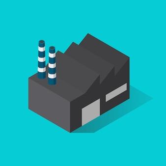 Vista isométrica do edifício da fábrica. ilustração vetorial