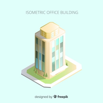 Vista isométrica do edifício de escritório moderno