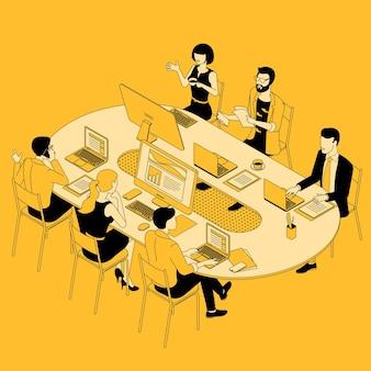 Vista isométrica do grupo de trabalho em equipe discutindo o projeto na mesa