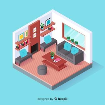 Vista isométrica do interior de casa moderna