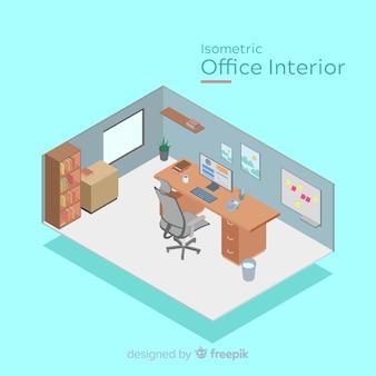 Vista isométrica do interior do escritório moderno