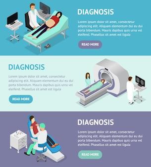 Vista isométrica do paciente e consulta médica. especialista em ultrassom e mrt de diagnóstico no interior do gabinete de ilustração vetorial clínica