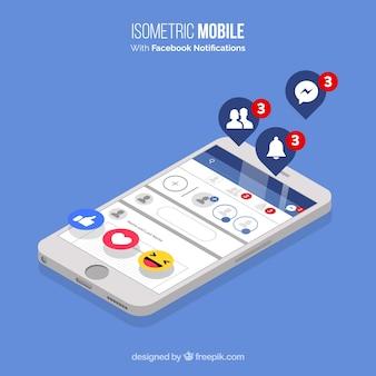 Vista isométrica do telefone móvel com notificações do facebook