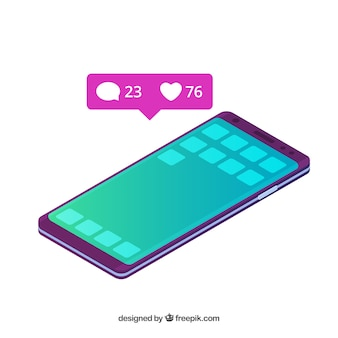 Vista isométrica do telefone móvel com post do instagram