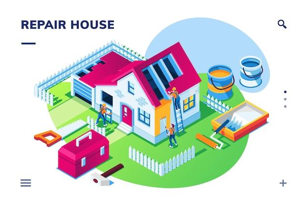 Vista isométrica exterior em reparo ou reforma de casa