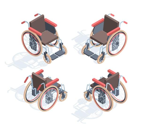 Vista isométrica para cadeira de rodas