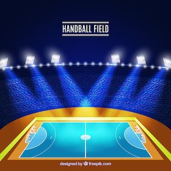 Vista lado, handball, campo, desenho