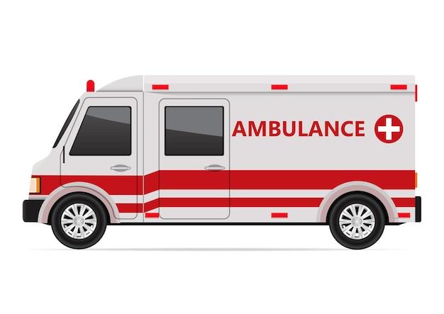 Vista lateral da ambulância isolada no branco.