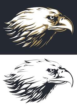 Vista lateral da cabeça da águia em silhueta isolada, mascote do logotipo em estilo preto e branco