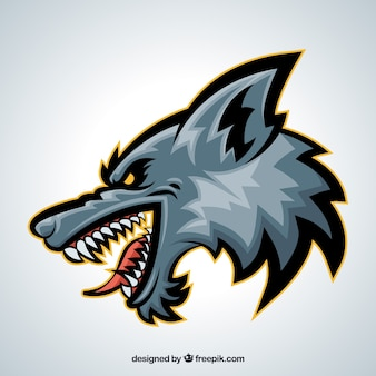 Vista lateral da cabeça do lobo