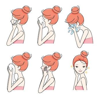 Vista lateral da garota limpando e cuidando do rosto