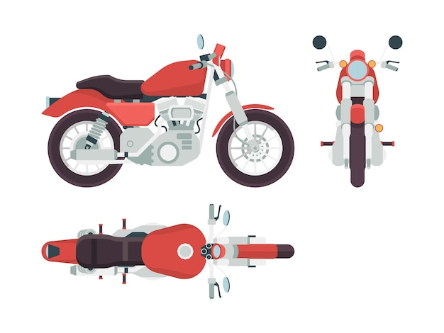 Vista lateral da motocicleta. ciclo transporte liberdade moto rota estilo veículo