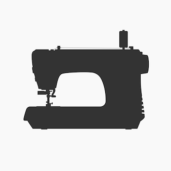 Vista lateral da silhueta preta da máquina de costura