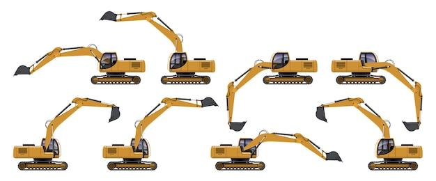 Vista lateral de escavadeira amarela em ação diferente
