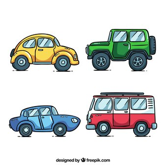 Vista lateral de quatro carros diferentes