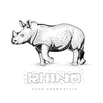 Vista lateral de rinoceronte, ilustração animal na mão de desenho