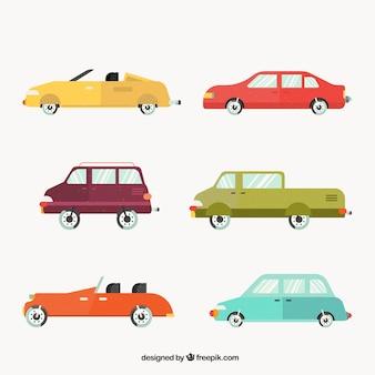 Vista lateral de seis carros em várias cores
