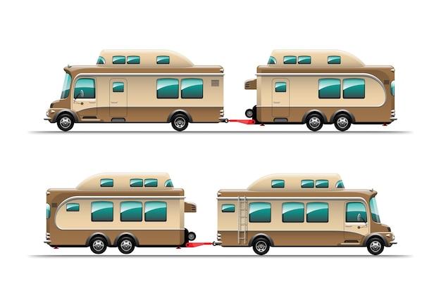 Vista lateral de trailers de camping, casas móveis de viagem ou ilustração de caravanas