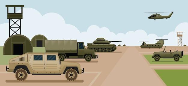 Vista lateral do acampamento base militar, veículos do exército e da força aérea