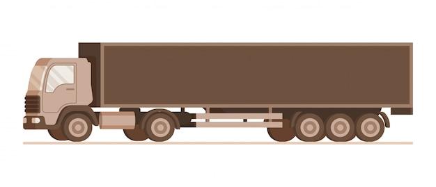 Vista lateral do caminhão de entrega de peso de armazém marrom