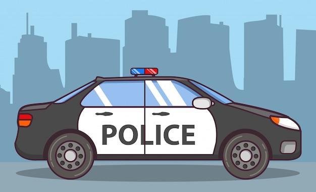 Vista lateral do carro de polícia.