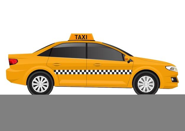Vista lateral do carro táxi amarelo realista isolada no branco.