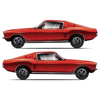 Vista lateral do carro vermelho
