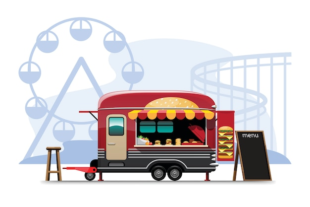 Vista lateral do food truck com hambúrguer