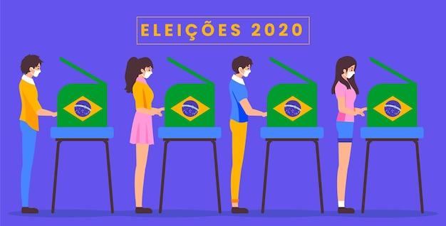 Vista lateral do povo brasileiro votando e usando máscara médica