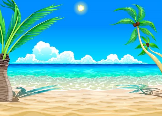 Vista na praia vector ilustração dos desenhos animados