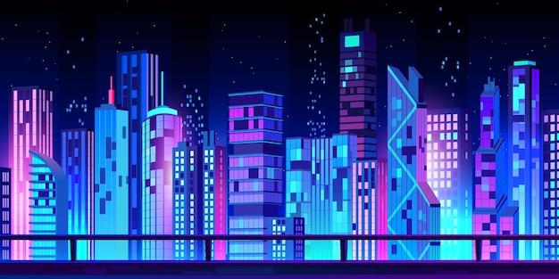 Vista noturna da paisagem da cidade em desenho animado
