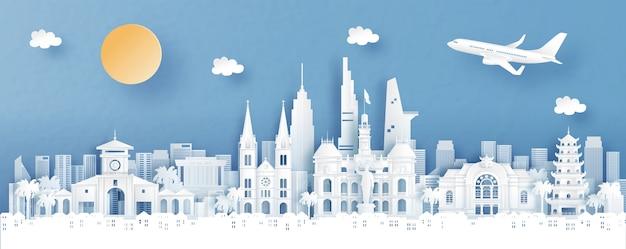 Vista panorâmica da cidade de ho chi minh, vietname, com o templo e o horizonte da cidade com monumentos mundialmente famosos em ilustração vetorial de estilo de corte de papel