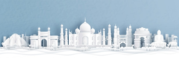 Vista panorâmica da índia com o taj mahal e horizonte com monumentos famosos do mundo